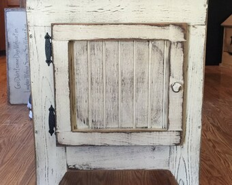 FREE SHIPPING ...Primitive End Table or Night Stand Storage Table