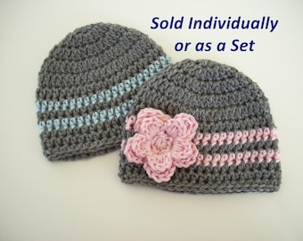 Baby Hats for Twins, Ready to Ship, Crochet Baby Hat, Hats for Twins, Twin Photo Prop, Baby Shower Gift, Winter Hat, Toddler Twin Hats