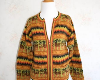 Mens Vintage Fuzzy Sweater Wool and Alpaca Mirapaca M Medium V Neck ytGbeqpt