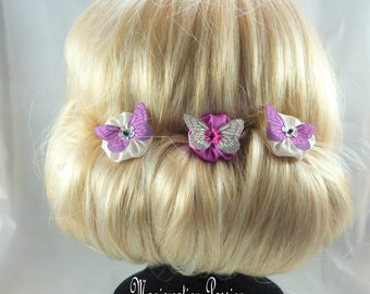 flowers and butterflies (set of 3) silk hair pins - Mia-fuchsia, white, silver sequin heart, Ombre, spring, made in France