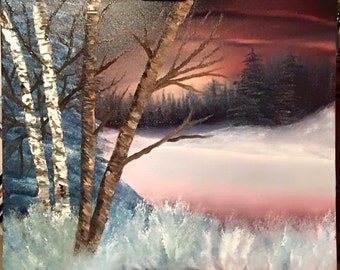 Landscape Oil Painting -  An Original painting by Wendy Margrave  - Winter's Beauty