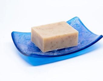 Sparkly Blue Iridescent Glass Soap Dish - Bar Soap Dish - Bathroom Accessories - Bathroom and Kitchen Soap  -  Kitchen Sponge Holder -2078