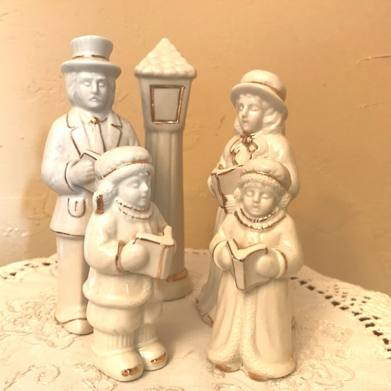 Victorian Christmas Carolers Figurines: Vintage Christmas Caroler Figurines-Classic Creme With Gold