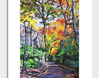 NYC Painting Washington Heights The Cloisters NYC Art Wall Decor Autumn Fine Art Print West Side Fall Leaves Painting by Gwen Meyerson