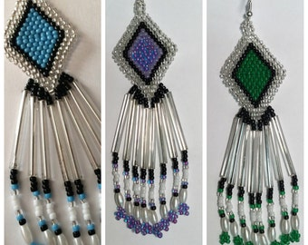 Native American Earrings, Long Silver, Black