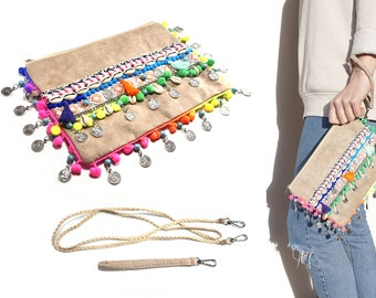 Ethno-clutch with shoulder strap and wrist strap-Boho handbag