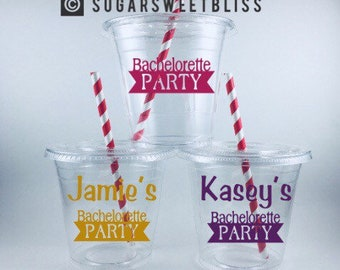 Bachelorette Party Cups Personalized Customized Name Bride Disposable Cup Set With Lids and Straws