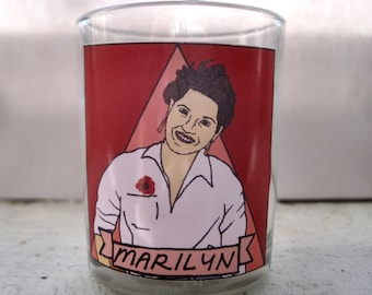 Marilyn Buck Glass Votive Candle // LGBTQ Altar Candle