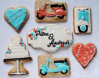 Set Vespa wedding cookies