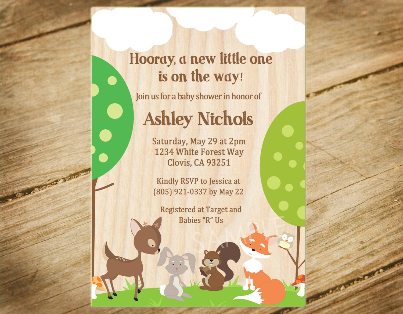 Woodland Animals Baby Shower Invitation Forest Animals /