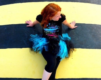 Custom Turquoise and Black Trashy Tutu - short length messy tulle skirt - Sewn and super full - photo prop, bachelorette, costume