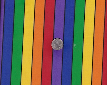 Bright Colored Stripe Cotton Fabric  Sewing Crafting Child's Decor Quilting Material
