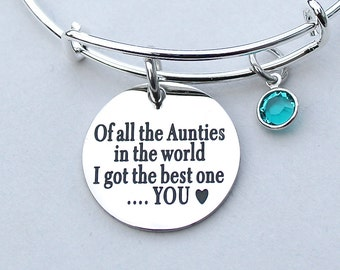 Of All The Aunties In The World I Got The Best OneYOU, Stainless Steel  Scripted Charm, Swarovski Birthstones, Auntie Gift, Aunt  R24