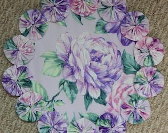 """12"""" Lavendel Rose Yo Yo Deckchen"""