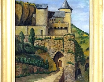 Superb Ca.1946 Famous French Medieval Castle Oil Painting W/Frame Signed U0026  Dated