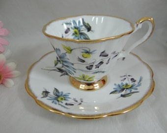 Vintage Royal Dover English Bone China Teacup Footed English Teacup and Saucer - lovely blue tea cup