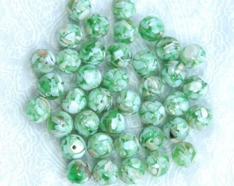8mm Green Shell Beads Mosaic Shell Beads Mother Of Pearl Beads Green MOP Beads