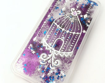 Birdcage iPhone 6S case, purple glitter waterfall iPhone 6S case