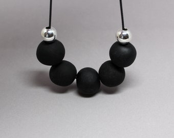 Black and Silver Necklace, Polymer Necklace, Black Bead Necklace, Black Necklace, Polymer Clay Beads, Bead Necklace