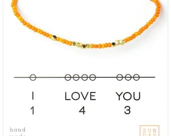 I Love You 143 Bracelet, Valentine's Day Gift,  Orange Holiday Gift for Her