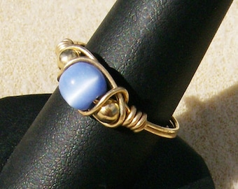 Cat's Eye Ring - Outstanding Handcrafted Wire Wrapped Gold Filled Wire & Periwinkle Blue, Size10, by JewelryArtistry - R257