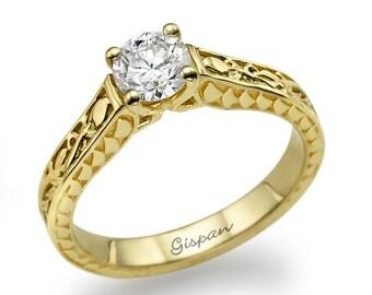 Unique Engagement Ring In 14k Yellow Gold, Diamond Engagement Ring, Vintage Engagement Ring, Antique Ring, Gispandiamonds, Milgrain Ring