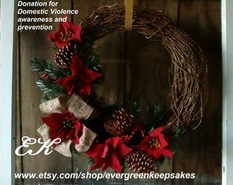 artificial Christmas wreaths, Red Christmas Wreath, winter wreaths, home Christmas decorations, large Christmas wreath, handmade wreaths