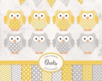 Premium Owl Clipart, Vectors & Digital Papers in Sunshine - Yellow Owl Clip Art, Owl Vectors, Pattered Owls, Baby Owls