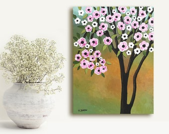 Cherry Blossom Tree Art Original Painting Wall Art, OOAK Landscape Painting Canvas Art, Bedroom Decor Mothers Day Gift