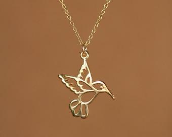 Humming bird necklace - gold hummingbird necklace - silver hummingbird - a 22k gold vermeil hummingbird on a 14k gold vermeil chain