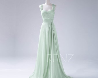 Bridesmaid Dress Dusty Mint Chiffon Dress,Double Straps Party Dress,Ruched Sweetheart Evening Dress,Long A Line Maxi Dress (F108)-Renzrags