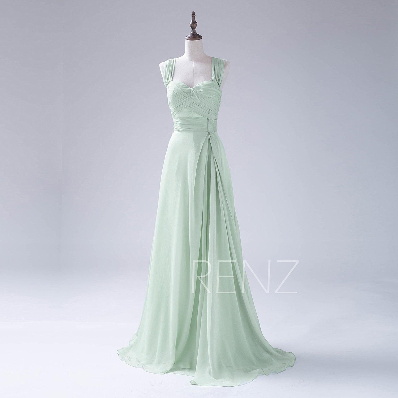 Bridesmaid dress dusty mint chiffon dressdouble straps party zoom ombrellifo Gallery