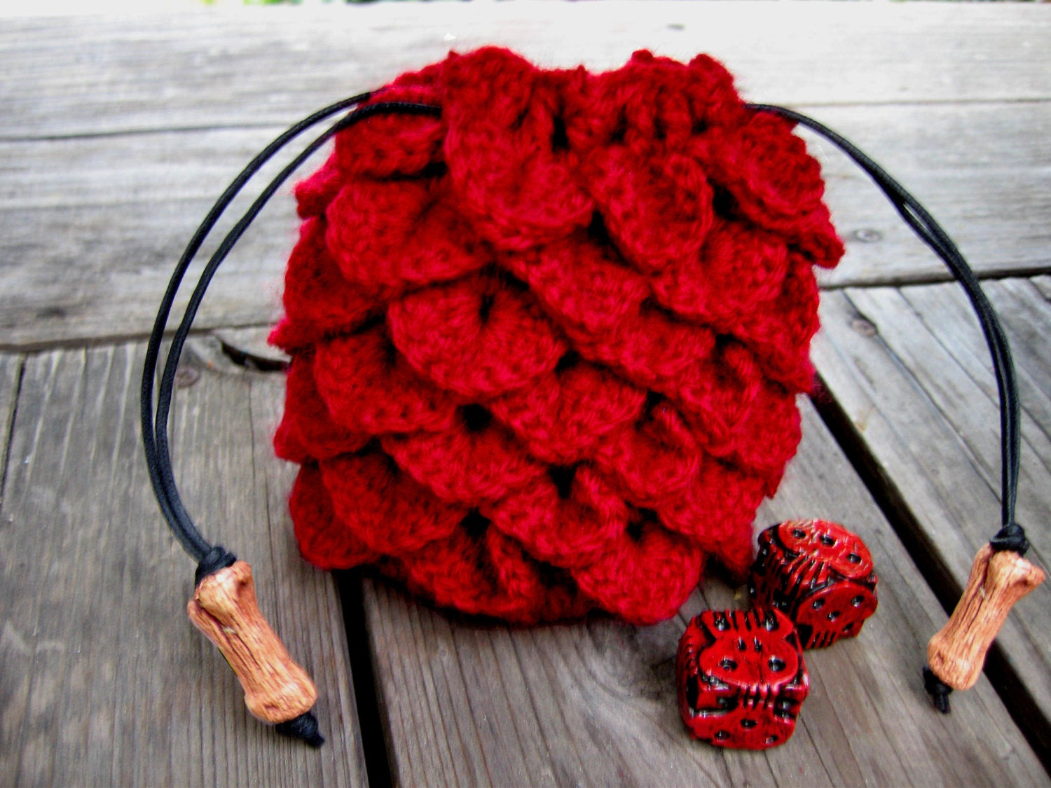 Red dragon scale dice bag crochet drawstring pouch geek