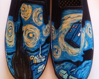 Doctor Who Starry Night hand painted shoes