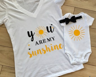 Baby Shower Gift Baby Clothes You Are My Sunshine Mommy and Me Outfits New Mom Gift New Baby Gift Mom Daughter Matching Clothes
