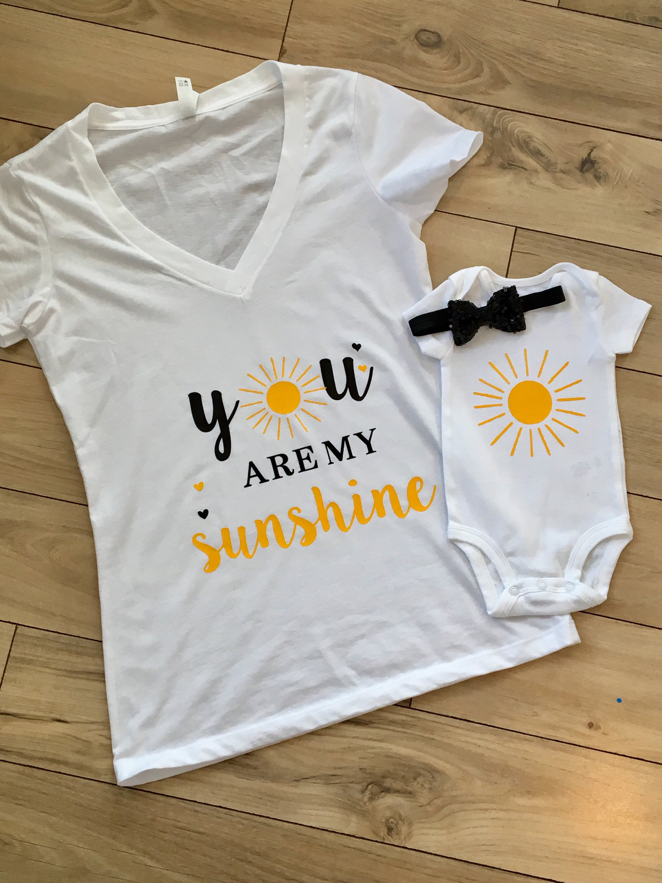 Baby Shower Gift Baby Clothes You Are My Sunshine Mommy and Me