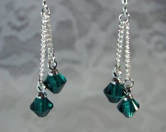 """Cynthia Lynn """"CELEBRATE"""" Sterling Silver Swarovski Emerald Green Crystal May Birthstone Drop Earrings"""