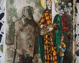 """St. Elizabeth of Hungary - Ready to Ship - Original Watercolor 5 x 7"""" Painting"""