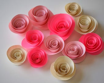 Blush Pink, Bright Pink, and Ivory Paper Flowers, Pink Baby Shower Decor