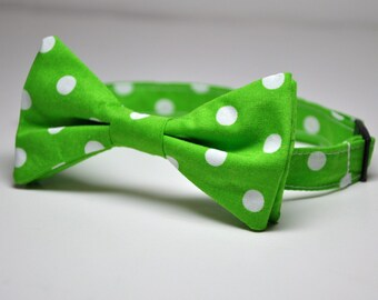 Boy's Bow Tie Lime Green Polka Dot Children's Bowtie - Many Colors Available