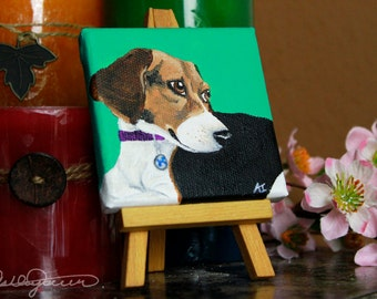 Custom 3'' mini Canvas Pet Portrait Painting