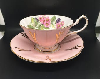 Queen anne pink black berry vintage tea cup