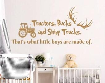 Wall Decal Quote Tractors Bucks and Shiny Trucks Deer Antlers Car Dump Truck Vinyl Sticker Decals Nursery Boys Bedroom Decor NV130