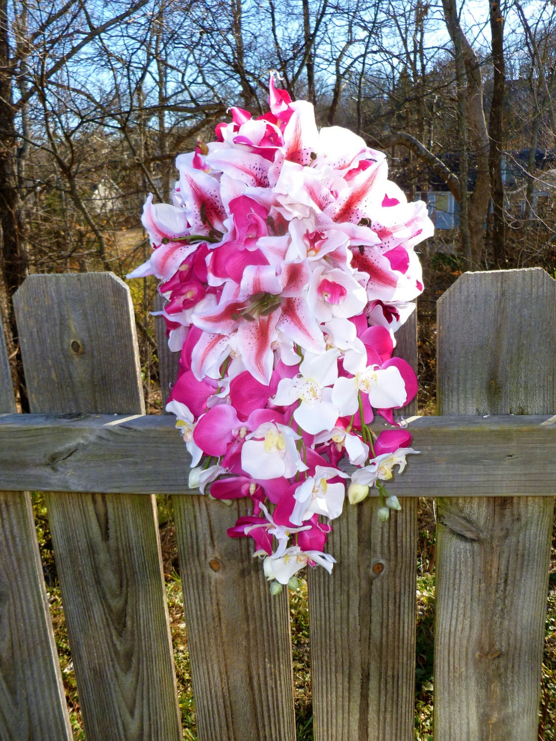 Hot pink orchid and tiger lily cascading bouquet artificial zoom izmirmasajfo