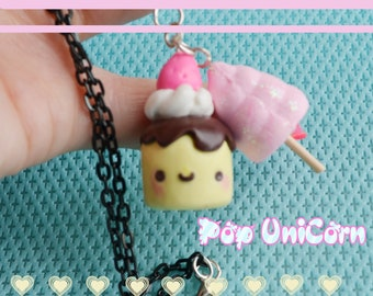 Necklace with sweet and cotton candy