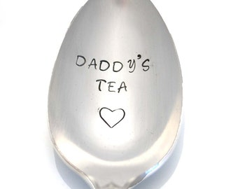 Stamped Spoon Daddy's Tea Vintage Silverware Gift For Dad Personalized Teaspoon Gifts Under 15 Hand Stamped Father's Day Gift