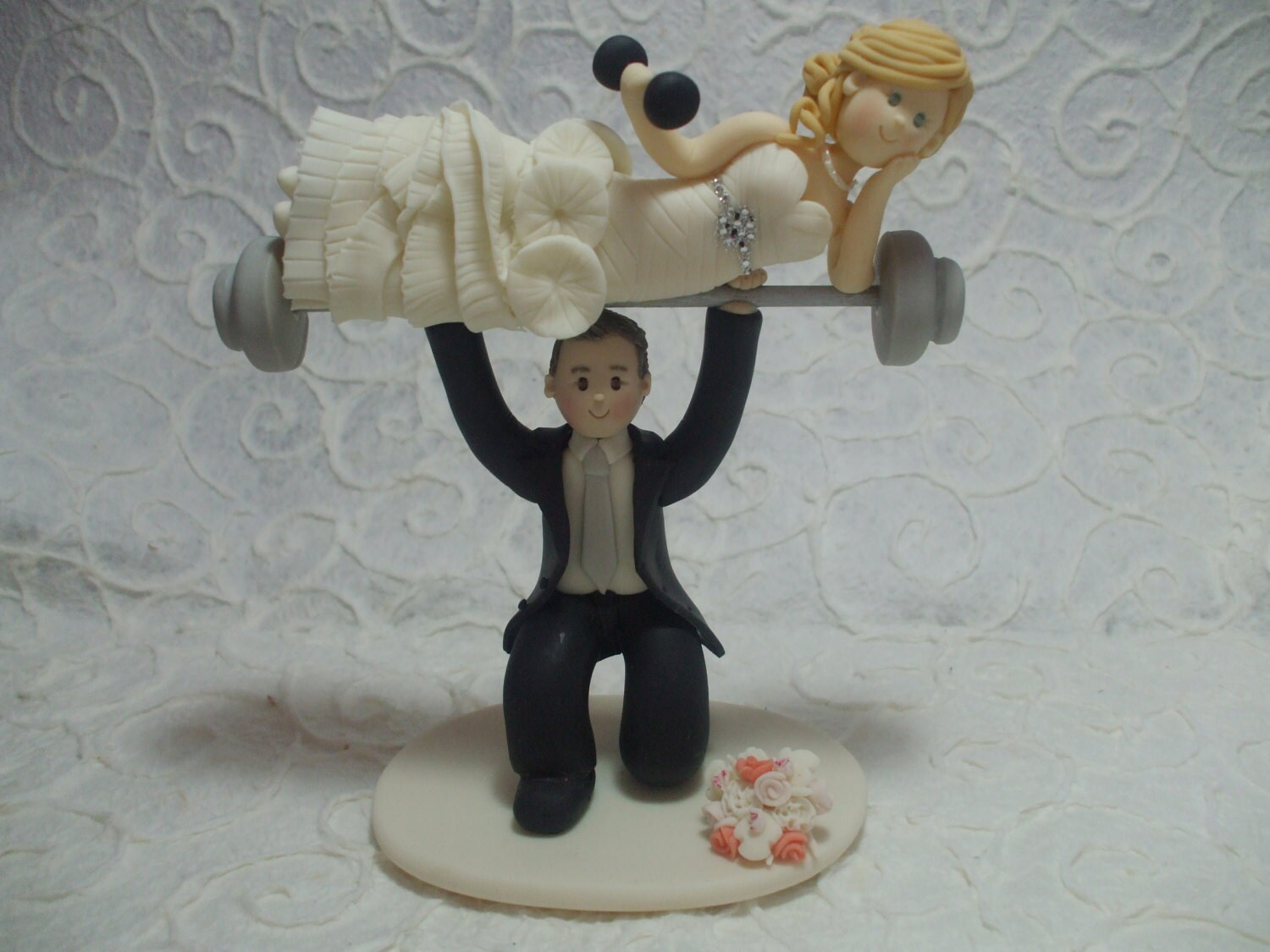 Weight Lifting Groom With Bride On Barbells Personalized
