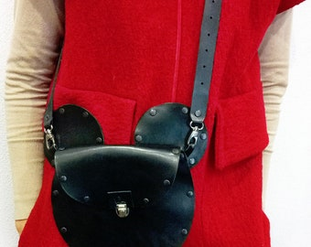Leather women crossbody,Black leather cross body bag,Leather iPhone Bag,Leather purse,Small Cross purse,Clutch,Crossbody Saddle Bag,Mickey