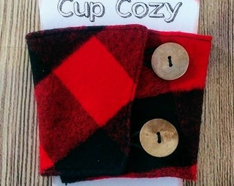 Cup Cozy, Insulated Cup Cozy, Plaid Flannel Cup Cozy, Coffee Cup Cozy, Plaid Cup Cozy, Plaid Coffee Cup Sleeve, Coffee Cup Sleeve