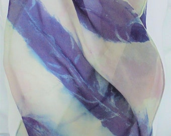 silk scarf hand painted Big Feathers unique grey purple navy blue wearable art women long spring chiffon